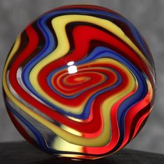 "Dusty Gamble #1718 | Handmade Lampwork Glass Marble | Superman Wiggle | .76"" #DustyGamble #Lampworked"