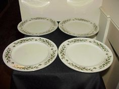 4 Holly Yuletide Japan Dinner Plates NEVER USED