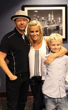 Donnie Wahlberg and wife Jenny McCarthy with her son from her 1st marriage