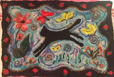 I finished this rug, and have had the most fun hooking it as anything I've done in a long time. Cat Rug, Sewing Crafts, Sewing Projects, Rug Hooking Designs, Hand Hooked Rugs, Penny Rugs, Primitive Crafts, Rug Runner, Wool Rug