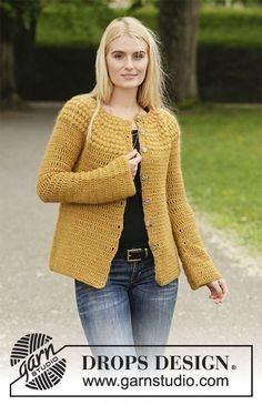 Autumn Gold Jacket / DROPS - Free crochet patterns by DROPS Design : Crocheted jacket in DROPS Sky and DROPS Kid-Silk. The piece is worked with a round yoke, top down and with puff-stitches on the yoke. Sizes S - XXXL. Crochet Jacket Pattern, Gilet Crochet, Cardigan Pattern, Crochet Cardigan, Knit Crochet, Crochet Vests, Crochet Stitches For Blankets, Crochet Stitches For Beginners, Crochet Stitches Patterns