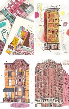 Illustrations from the All the Buildings in New York project by Australian James Gulliver Hancock based in Brooklyn. Architecture Drawing Sketchbooks, Landscape Architecture Drawing, Building Illustration, Illustration Art, Urban Sketching, Illustrations Posters, Concept Art, Street Art, Street View