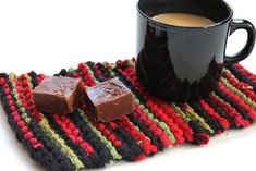 Christmas Snack Mat Crimson Red Green Black Knitted Mug Rug Upcycled Tshirts -US Shipping Included - pinned by pin4etsy.com