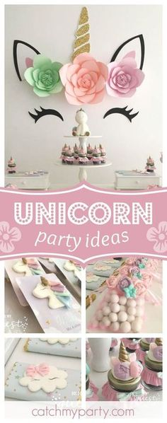 Swoon over this gorgeous unicorn birthday party! The backdrop is so pretty! See… - Girl Party Ideas Baby Girl Birthday, Unicorn Birthday Parties, Birthday Party Themes, Birthday Ideas, Anniversaire My Little Pony, Rosalie, Unicorn Baby Shower, Partys, Party Guests