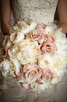 Lovely Bouquet of Pink & White.For more vintage wedding inspiration read our blog at www.vintageweddingfair.co.uk