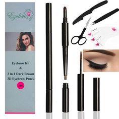 Ezolistic Eyebrow Kit 3 in 1 Eyebrow Pencil & Brush Kit Eyebrow Stencil and Eyebrow Trimming Tools