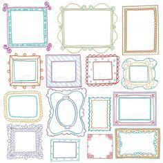 Stock-Vektor von 'Vintage- Bilderrahmen -Set, doodle Stil, Zier-und nettes Foto farbigen Rahmen für die Dekoration und Design'