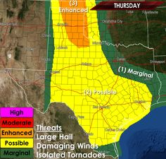 The Storm Prediction Center has placed much of West Texas, the Concho Valley, Hill Country, South Texas, and Southeast Texas in a risk of severe storms later today into this evening with a few severe storms capable of large hail and damaging winds are possible. An enhanced severe weather risk is in place for the eastern Texas Panhandle which is where we'll see the highest concentration of severe weather potential including a tornado risk later this afternoon. We'll be out cha