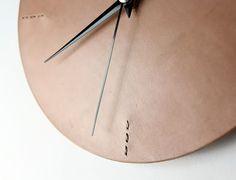 Minimalist Wall Clock Leather Wall Clock for by ilemleathergoods