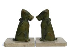 Art Deco Dog Bookends. Terrier Figural Book by LeBonheurDuJour