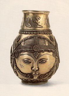 Сосуд серебряный - Лицо и две охотничьи сцены. VI - VII в. Государственный Эрмитаж