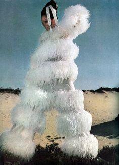 Harper's Bazaar. December 1968. Giant human poodle?