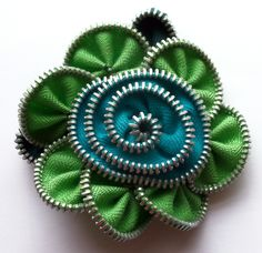 Lime Green and Turquoise Floral Brooch / Zipper Pin by ZipPinning 3037 by ZipPinning on Etsy