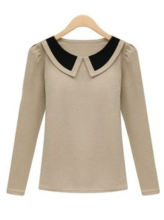 Apricot Contrast Lapel Long Sleeve Slim T-Shirt GBP£13.20