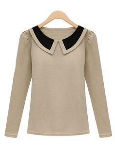T-Shirt mince avec col contrasté -Abricot