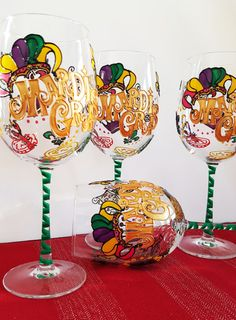 Mardi Gras Wine Glasses -Wine Glasses- Hand Painted (Set of 4). A Perfect party glass for any celebration. They also make a great Birthday,