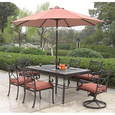 @Overstock.com - Santa Maria Outdoor 7-piece Dining Set - You'll be ready to host a garden party or barbecue when you set up this Santa Maria outdoor dining set. There is seating for six, and your guests will surely admire the simple elegance this set exudes. The fully-welded aluminum frame ensures durability.  http://www.overstock.com/Home-Garden/Santa-Maria-Outdoor-7-piece-Dining-Set/7586223/product.html?CID=214117 $1,424.99