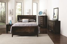 Shop Marshall Contemporary Brown Wood Master Bedroom Set with great price, The Classy Home Furniture has the best selection of to choose from Master Bedroom Set, King Bedroom Sets, Queen Bedroom, Dream Bedroom, Cheap Furniture, Home Furniture, Bedroom Furniture, Coaster Fine Furniture, Leather Headboard