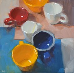 Click Here to Bid (6x6in.)   I am boning up on still life again before my next workshop (next week) with some cups and some primary color...