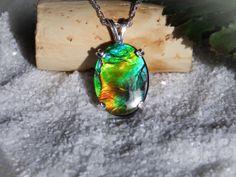 Ammolite Sterling Silver Pendant by MarkOliverGems on Etsy, $155.00 #ammolite #uniquejewelry #necklace