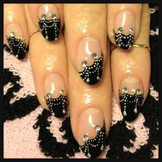 Halloween: silver cobweb nail art and rhinestones on a black french manicure ♥