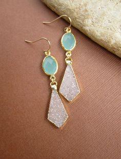 Druzy Earrings Drusy Quartz Sea Green Chalcedony by julianneblumlo, $135.00
