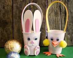 Easter Kids Crafts, Bunny and Chick egg hunting basket. #easter #crafts #kids see how to make here: http://www.trimcraft.co.uk/articles/half-term-easter-crafting-for-kids-with-our-bunny-chick-sweet-holder-templates