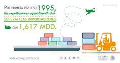 Por primera vez desde 1995, las exportaciones agroalimentarias superan las importaciones con 1,617 MDD.SAGARPA SAGARPAMX #MéxicoAgroPotencia