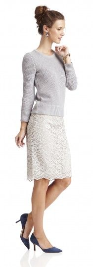 Wear your lace skirts with sweaters this winter for a cool casual look. Loving these shades of grey and the pop of blue.