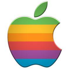 Old rainbow Apple logo Rainbow Apple Logo, Apple Icon, Apple Logo Wallpaper Iphone, Computer, Web Development, Rainbow Colors, Graphic Design, Logos, Classic