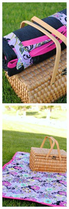 Cute Picnic Blanket Tutorial that rolls up for easy storage