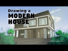 Drawing a Modern House - YouTube Artist Sketchbook, House Styles, Drawings, Illustration, Modern, Youtube, Projects, Log Projects, Trendy Tree