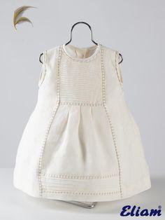 Vestido Lino Jaretas - Bodas-Vestidos Arras - Ocasiones especiales - Tienda de ropa infantil Eliam
