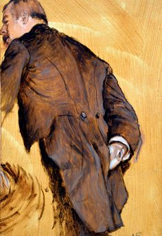 """The Impresario (Pierre Ducarre), 1877 at the Legion of Honor"", by Edgar Degas. Typical 'snap-shot' composition from Degas, giving us the chance to examine Ducarre's tail coat. Edgar Degas, Pierre Auguste Renoir, Edouard Manet, Degas Drawings, Degas Paintings, Mary Cassatt, Camille Pissarro, Claude Monet, Charles Gleyre"