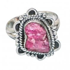 925 SOLID STERLING FINE SILVER Rough Pink Quartz Rings