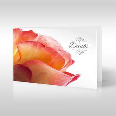"""Diese Trauerkarte zeigt als Titelmotiv das dekorative Portrait des Blütenkopfes einer pastellfarbenen Rose auf reinweißem Grund. Die Nahaufnahme dieser beeindruckenden marmorierten Rose spendet augenblicklich Trost. Das Motiv erstreckt sich hinüber auf die Kartenrückseite, diese ist ebenfalls in Weiß gehalten. Zwischen zwei grafischen Ornamenten steht das französische, verabschiedende Wort """"Adieu"""". https://www.design-trauerkarten.de/?s=Facetten+der+Wehmut&post_type=product"""