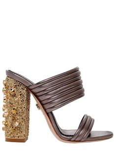 LE SILLA - 110MM QUILTED LEATHER SANDALS W/CRYSTALS - SANDALS - PEWTER - LUISAVIAROMA