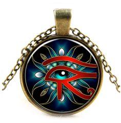 Glazen hanger met ketting Oog van Horus