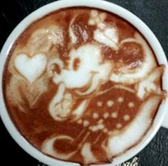 .·:*¨¨*:·. Coffee ♥ Art.·:*¨¨*:·. Minnie Mouse latte