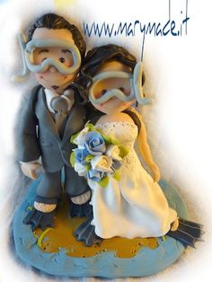 #Scuba #diving is your passion? Get a MaryMade.it #personalised #caketopper and order today your Scuba #wedding #Cake #Topper