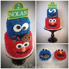 Sesame Street birthday cake and cupcakes I made for a 2nd birthday party.  Buttercream frosting with fondant faces, cookies and sign.