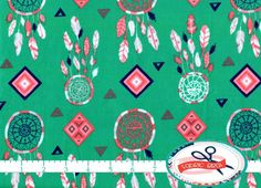 TEAL DREAMCATCHER Fabric by the Yard Fat Quarter by FabricBrat