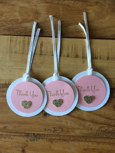 25 handmade thank you tags with ribbon for party favours