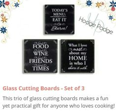 Do you need a housewarming gift? Get this set of 3 cutting boards and mark 3 people off your list. Perfect for birthdays,  Christmas or Mother's day. Who do you have in mind?