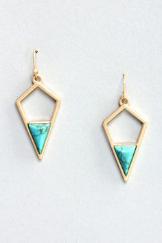 Lost in Shapes Gold and Turquoise Earrings