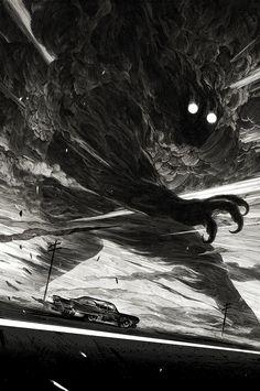 Obras em preto e branco e mundos fantásticos