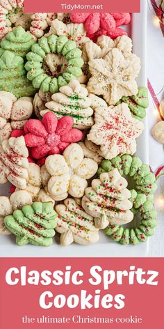 Classic Spritz Cookies are the ultimate Christmas cookie. Made using a cookie press and a variety of disks they are a quick and easy way to add elegance to a holiday cookie tray. Top the buttery cookies with colorful sugars and sprinkles to produce festive treats in no time. PRINTABLE RECIPE + expert tips at TidyMom.net Spritz Cookies, Buttery Cookies, Sprinkle Cookies, Sugar Cookies, Snowman Cookies, Holiday Cookies, Christmas Sprinkles, Christmas Treats, Cookie Tray