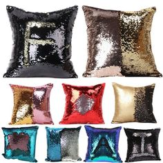 Reversible Sequin Mermaid Glitter Sofa Cushion Cover Pillow Case Double Color DY #Unbranded #ArtDecoStyle