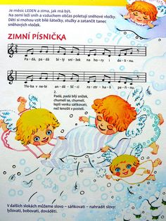 zimní písnička Music Page, Kids Songs, Music Notes, Animals And Pets, Winnie The Pooh, Diy And Crafts, Disney Characters, Fictional Characters, Preschool