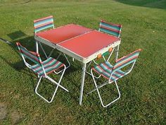 2 Vintage Folding Camping Canvas Directors Chairs Wood